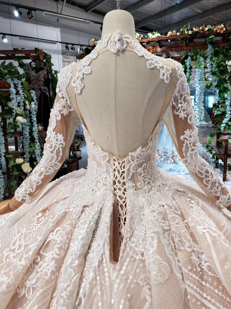 HTL433 long sleeves lace wedding dresses with train v-neck open back puffy ruffle wedding gowns heavy handwork robe de mariee (5)