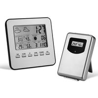 Indoor Outdoor Temperature Monitor Alarm Clock Digital Weather Station Wireless Sensor 2016 New arrival