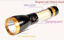 HOMFUL  Super bright COB flashlight high-power 800 meters long-range multi-function searchlight with safety hammer magnet