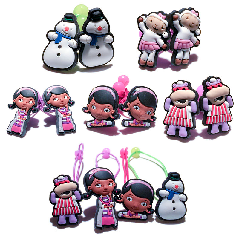 New Arrival 1-5pairs Doc Mcstuffins Cute New Mini Resin Cartoon Girls Hair Ropes Kids Safe Hair Ring Toddlers Travel Accessories