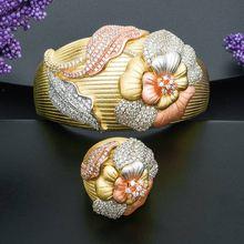 ModemAngel แฟชั่นการออกแบบดอกไม้รูปร่างเครื่องประดับกำไลข้อมือและชุดแหวนสำหรับผู้หญิง 3 โทนคุณภาพสูงของขวัญ