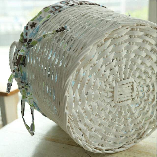 Large White Wicker Storage Baskets For Clothes Toys Home Bathroom Dirty  Clothes Laundry Basket With Handles Neatening Container