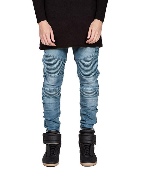 High Quality 2017 Spring Autumn Runway designer Jeans biker denim overalls men Khaki Black White Pants
