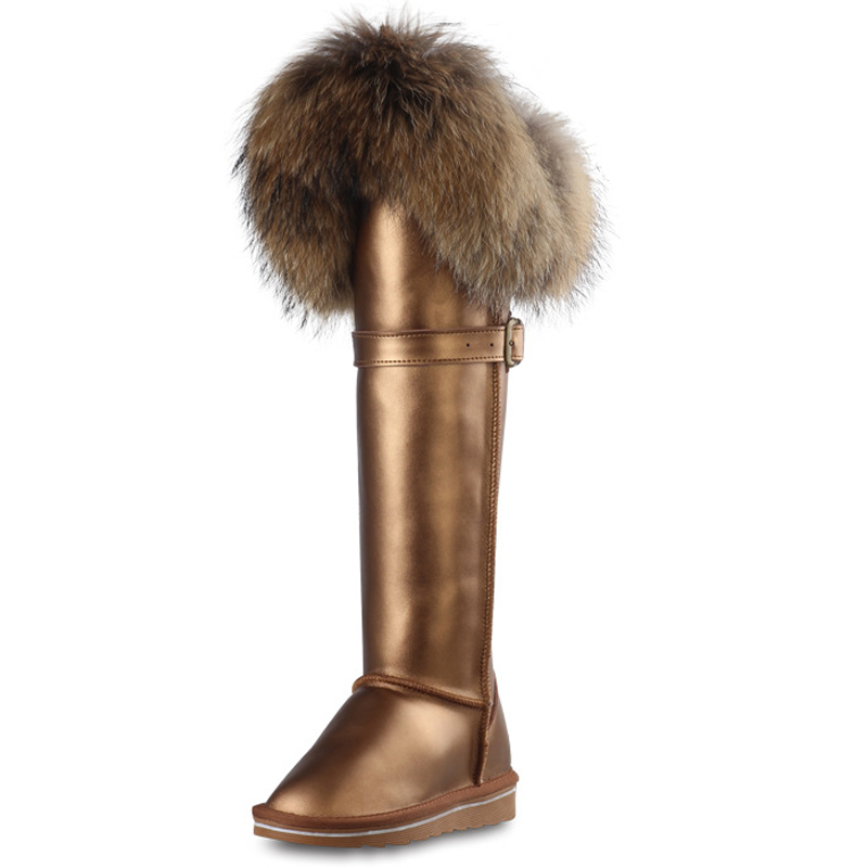 RUIYEE ladies over the knee boots fox fur snow boots fashion leather boots first layer leather