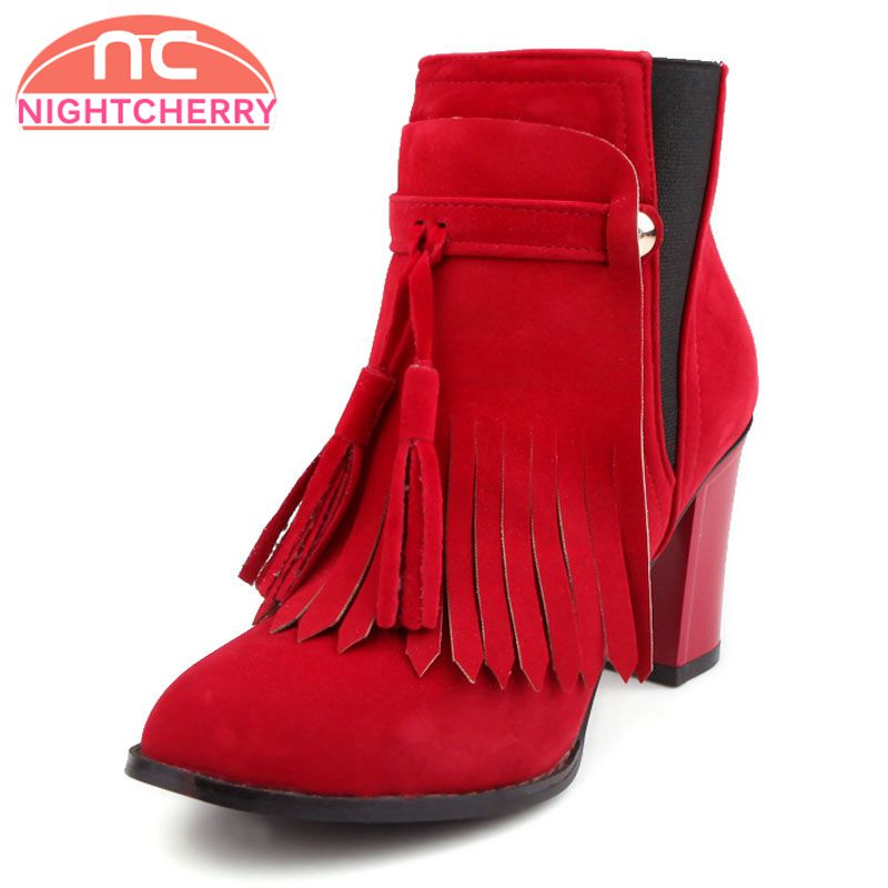 NIGHTCHERRY Woman Pointed Toe Ankle Boots Women New Tassel Method Two Boot Female Suede Leather Heels Shoes Footwear Size 32-43