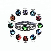 Glowing in the dark 12 Constellations Charm 3 Layers Leather Braided Bracelets,adjustable size zodiac leather bracelets