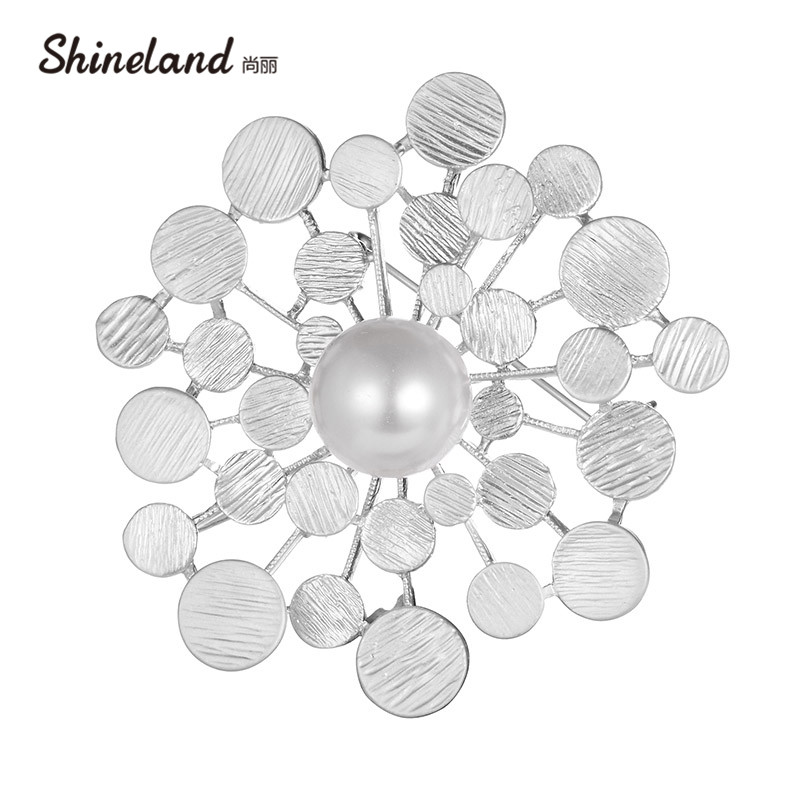Shineland Hot Sale Fashion Silver Color Big Imitation Pearl Flower Bouquet Brooches For Wedding Elegant Women Gift Brooch Pins