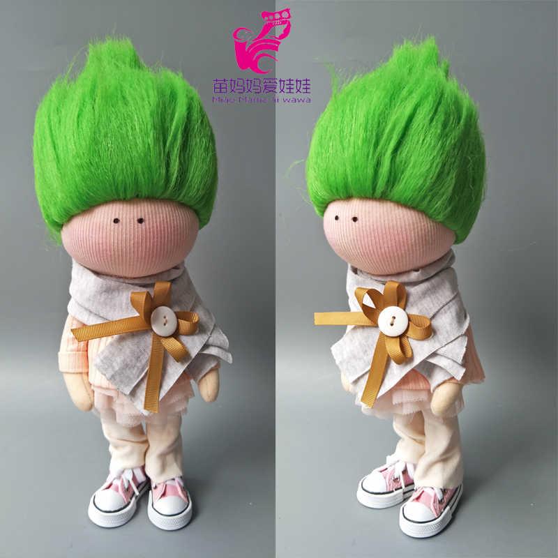 בובות קטן מתולתל טרולים שיער פאה עבור 18 inch ילדה בובת DIY ביצוע מסיבת אבזר שיער להחליף