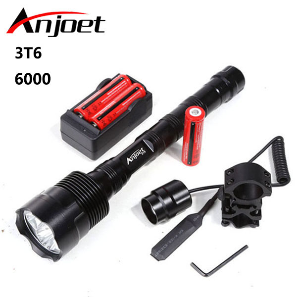 Anjoet 6000Lumen Tactical Flashlight CREE 3T6 Power 5 Mode Torch Lamp Light Led For Camping Hunting Fishing Waterproof Torch