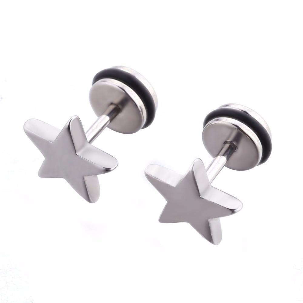 Sliver Star Earrings Woman Girl Fashion Jewelry Pentagram Ear Stud Man Ear Piercing Jewelry 1 Pair