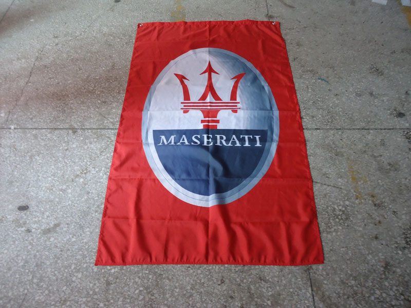 free shipping 100% polyster maserati red car flag ,90X150CM size,out door use,erati red car banner