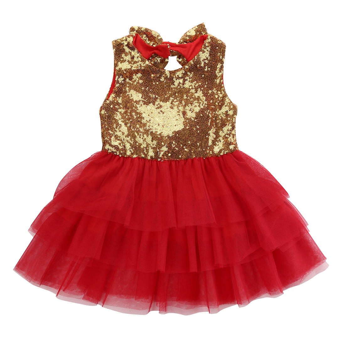 Christmas dress for baby - Baby Flower Girl Sequins Dress Backless Bow Tulle Tutu Party Formal Dresses Christmas Dress Costume