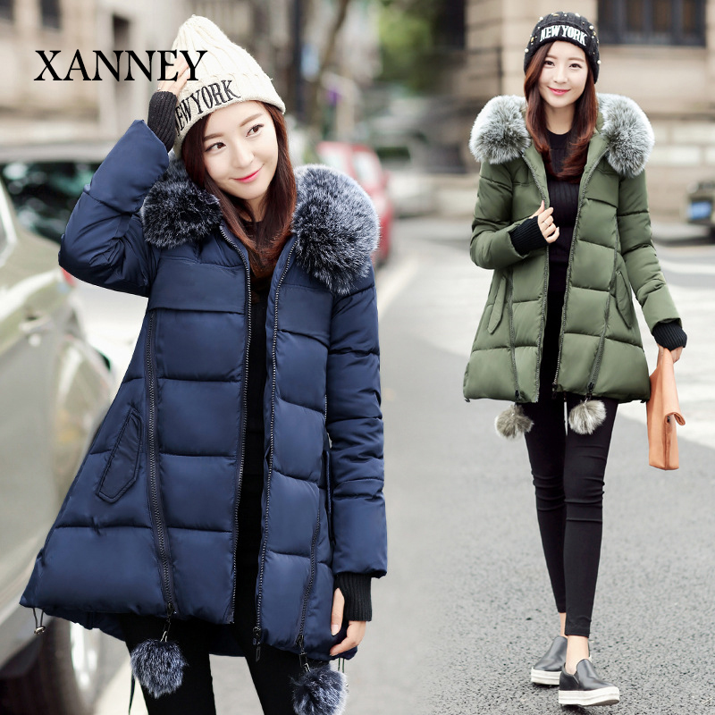 XANNEY New miegofce Long Thick manteau femme Raccoon fur collar 2016 Autumn Winter New Down & Parkas winter coat women
