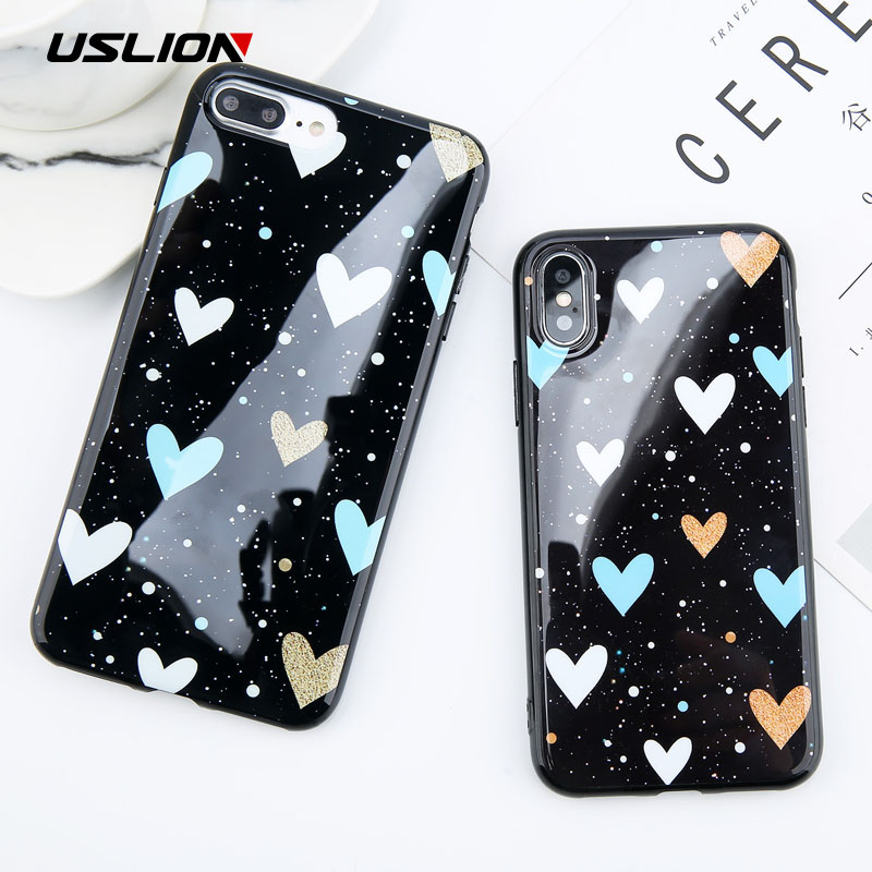 Galleria fotografica USLION Cute Love Heart Stars Print Phone Case For iPhone X Glossy Soft TPU Back Cover Cases For iPhone 8 7 6 6s Plus Coque