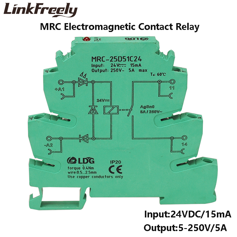 MRC-25D51C24 1NO Industrial Voltage Relay Board DC 24V Input 5A 250VDC/AC Out Electromagnetic Circuit Interface Module Din