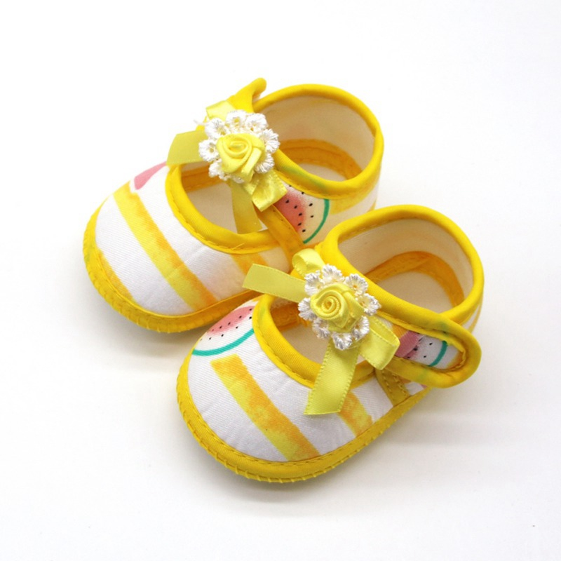 0-18 Months Baby Girls Shoes Infant First Walkers Toddler Girls Kid Soft Cotton Summer Bow Anti-Slip Crib Girl Newborn Shoes