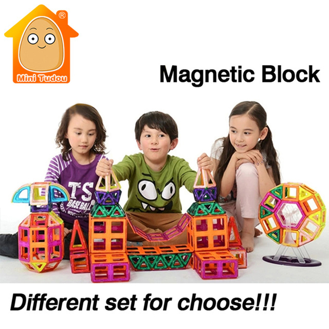 MiniTudou  Magnetic Toy 12-72 PCS Plastic Building Block 3D Blocks DIY Kds Toys Educational Model Building Kits