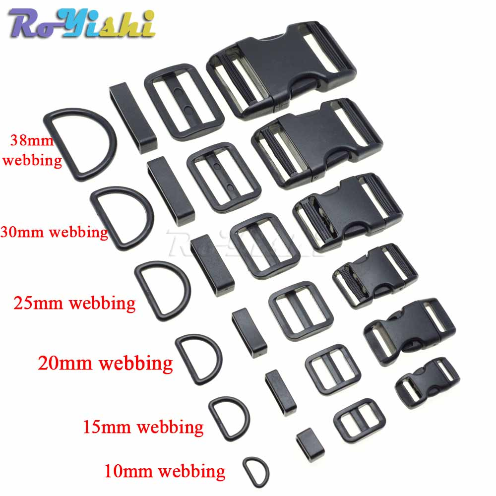 "WEBBING 1/"" LOOPS 10 X BLACK PLASTIC 25mm STRAPS"