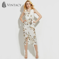Vintacy Polyester Women Vacation Dress Long White Summer Dresses For Women Print Beach V Neck Spring