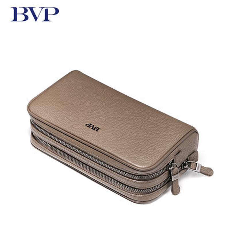 High Quality Brand Genuine Leather Apricot Business Man Clutch Cow Leather Double Zipper Handbag Multi capacity Long Wallet J50