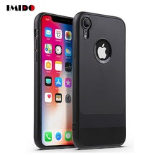 IMIDO Carbon Fiber Phone Case For iPhone 11Pro X XS MAX XR 8 7 6 6S Plus Silicone Soft TPU Back Cover For iPhone 7 Plus Coque carbon fiber leather coated soft tpu case shell for iphone 6s 6 4 7 inch dark blue