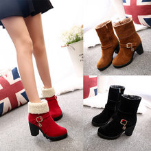 2019 New Autumn Winter Women Boots High Quality Solid Lace-up European Ladies shoes Leather Fashion Boots(China)