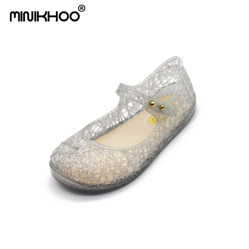 Mini Melissa Crystal Shoes 2018 New Children Mesh Hole Shoes Girls Jelly Shoes Sandals Melissa Crystal Shoes For Girls 15-18cm