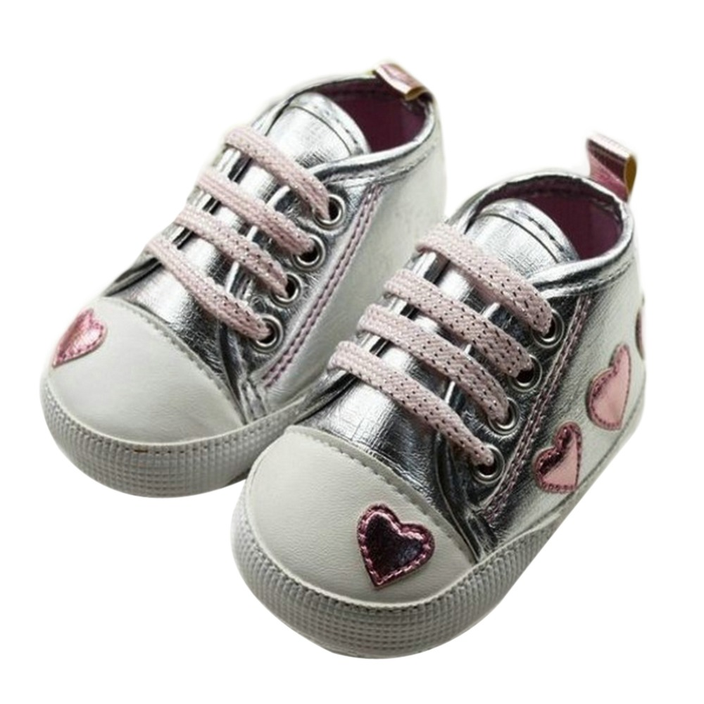 Silver/pink Love First Walkers Style Soft Baby Shoes Cute Female Baby Princess Shoes
