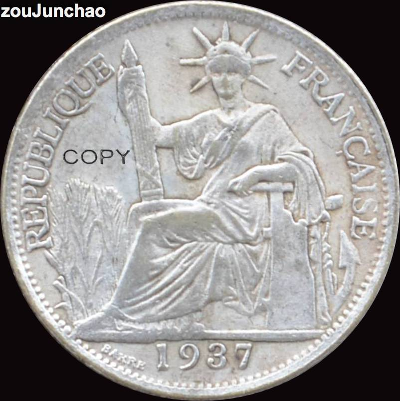 FRENCH INDO-CHINA <font><b>1937</b></font> 20 CENTS Brass Silver Plating <font><b>Coin</b></font> SITTING LIBERTY Copy <font><b>Coins</b></font> image