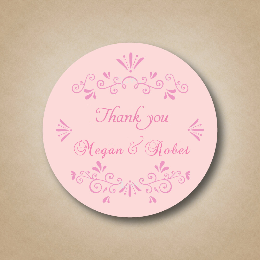 Personalized pink wedding party favor labels stickers for Wedding favor supplies
