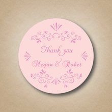 Personalized Pink Wedding Party Favor Labels ,Stickers Customized Wedding Favors Thank You Sticker on Wine Bottle