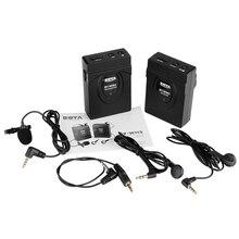 MAHA BOYA 2.4 GHZ GFSK Sistema de Videocámara Cámara Micrófono Lavalier de Solapa Inalámbrico Micrófono