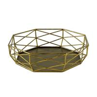 Vintage Golden Dessert Holder Wrought Iron Desktop Storage Basket Wedding Dessert Table Cake Tray Stand