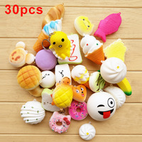 30 Pcs Random Squishy Slow Rising Bread Cake Bun Pendant Donut Charm Toy Stretchy Squeeze Cream