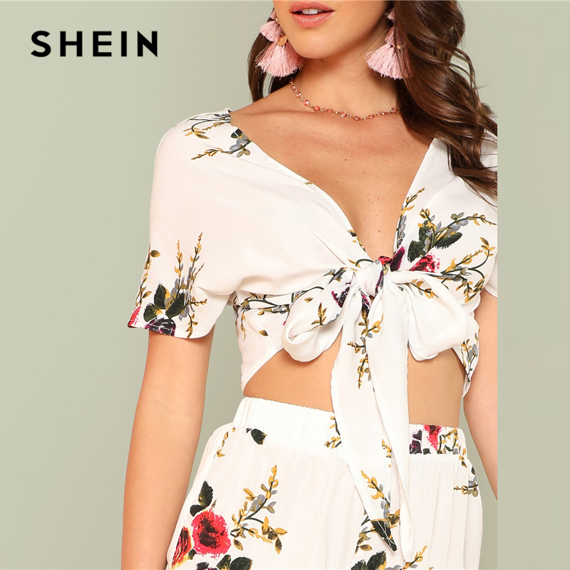 faf5d95c555376 SHEIN Floral Print Knot Front Top And Ruffled Shorts Set 2018 Summer Deep V  Neck Top With Shorts Women Vacation Beach Twopieces-in Women s Sets from  Women s ...