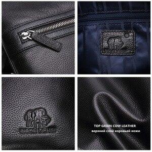 Image 5 - BISON DENIM Brand Genuine Leather Crossbody Bag Men Slim Male Shoulder Bag Business Travel iPad Bag Men Messenger Bags N2424