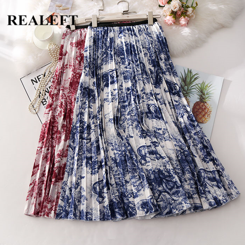 REALEFT New Arrival Women Floral Printed Vintage Pleated Long Skirts High Waist Harajuku Tulle A-Line Mid-Calf Skirts For Ladies