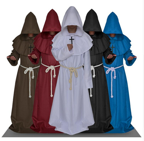 247c87a645 FREE SHIPPING Monk Hooded Robes Cloak Cape Friar Medieval Renaissance  Priest Men Costume Cosplay Halloween costume for men