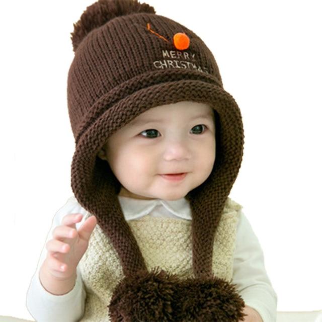 9e2431a17e5 2018 New Pompom Velvet Christmas Baby Caps 6-24 Month Cartoon Deer a Cap  Little Princess Cotton a Winter Hat Children Mask