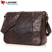 LEXEB Brand Men's Vintage Luxury Sling Bag Causal Coffee Leather Messenger Post Satchels Bags For 13.3 Inch Laptop High Quality