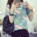 Coreano Retro Animal Dinossauro Impressão T shirt Women 2017 Verão Estilo Japonês Harajuku Curto-manga comprida T-shirt Mulher Tops S-XL