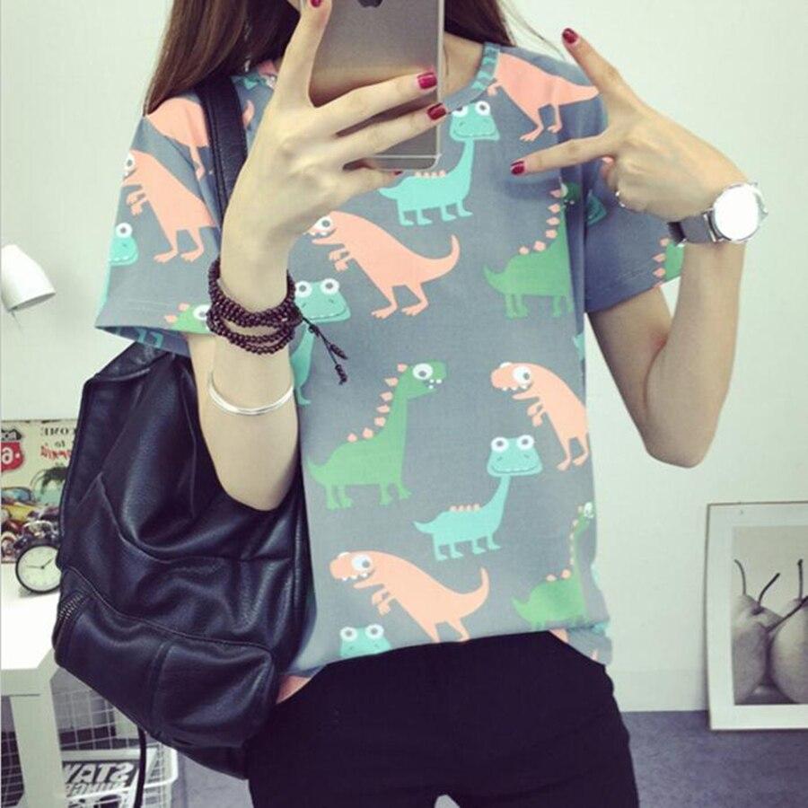 Корейский ретро животных динозавр печать футболки женщины 2017 лето японский harajuku стиль с короткими рукавами футболки женщины топы s-xl