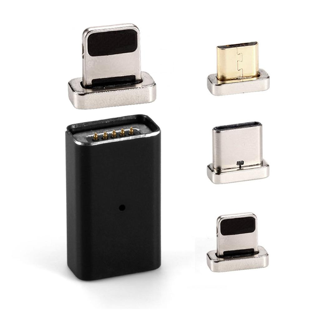 Magnetic Micro USB Female to Type C/For Lightning/Micro USB Charging Adapter Magnet Converter Data Charger USB-C Metal Plug