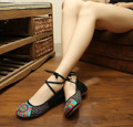 2016 New Spring Leisure Light Blue Chinese Style Embroidery Fashion Cute Beautiful Shoes Women Female Flats SMYXHX-D0029