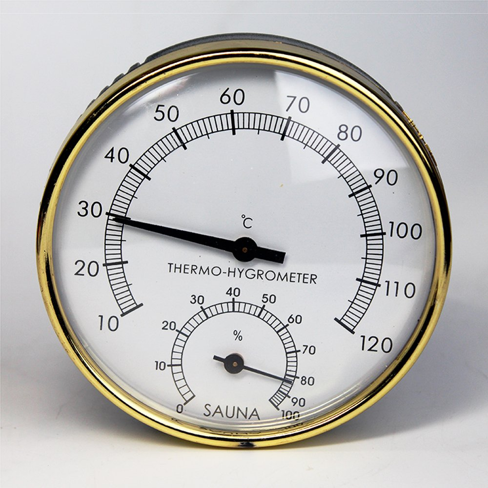 Stainless Steel Edge Sauna Room Thermometer Hygrometer Clock -0°C~120°C for Sauna Room Temperature Humidity Meter