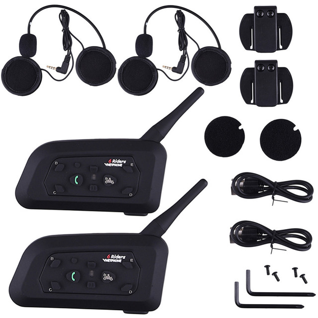 2 x1200M Bluetooth Intercom Headset 6 Riders Handsfree V6 Waterproof Motorcycle Interphone Interfone Support Stereo Music/Audio