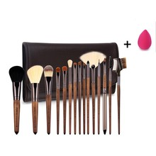 Zoreya Walnut Makeup Brushes Set 15pcs with Super Soft Nylon Hair Professional Tool for Blush Eyeshadow Contour Highlight