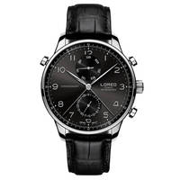 LOREO 6110 Germany Watches Men Luxury Brand 316L Stainless Steel Corrosion Resistant Scratch Resistant Leather Black