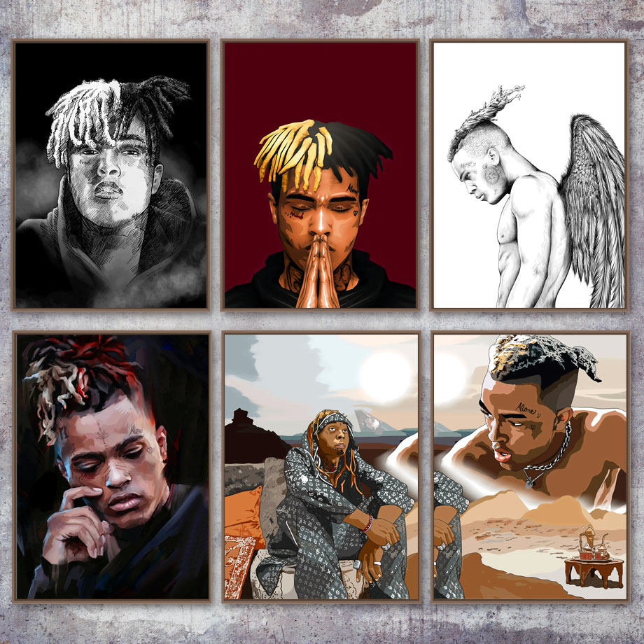 Home Decor HD Prints Nordic Style XXXTentacion Rapper Painting Wall Artwork Canvas Modern Picture Poster Modular For Living Room