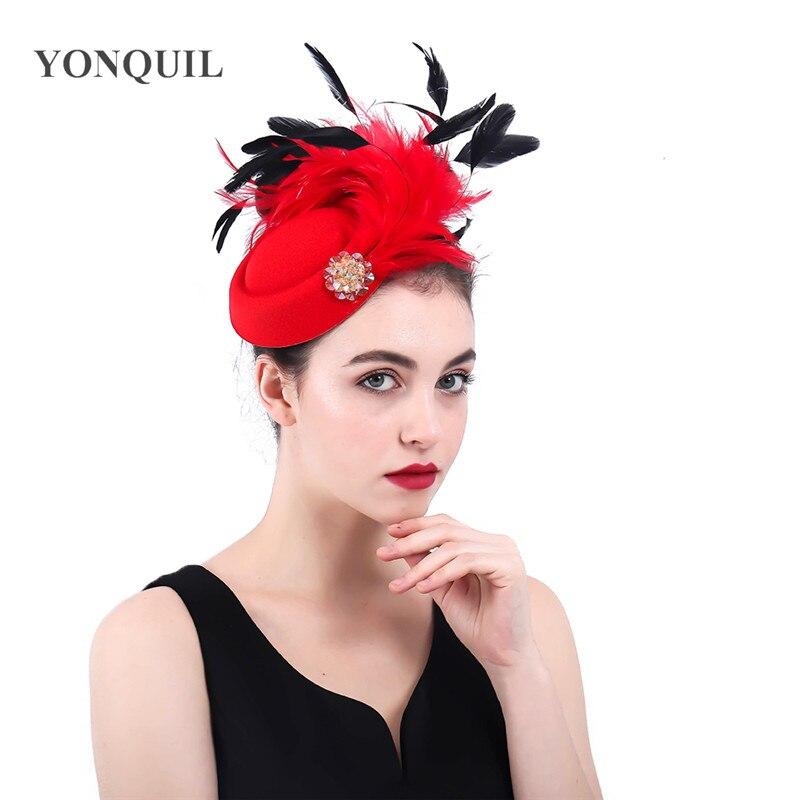 Ladies Elegant Party Wool Felt Chapeau Cap Fancy Feather Fascinator Hat Occasion Women Wedding Fashion New Headpiece Hair Clip
